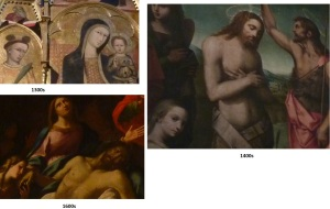 Comparison of facial details in various works of art in the Baptistry in Siena (Medieval through Renaissance periods)