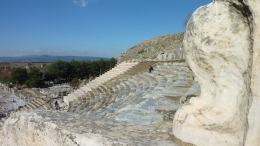Grand Theater with decorative lion paw on seats, Ephesus