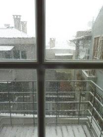 Snowy balcony view