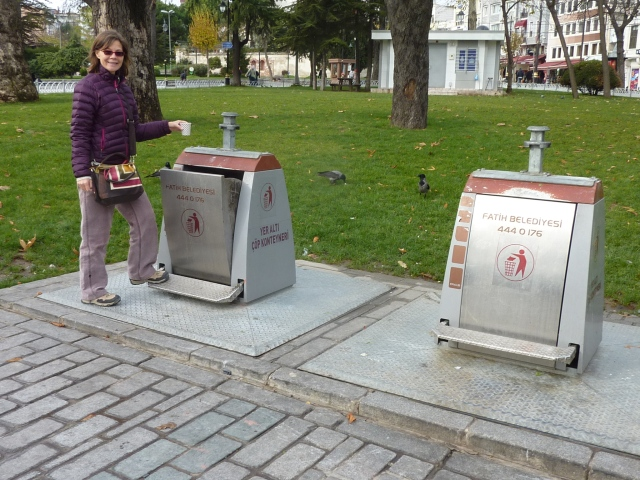 While in our neighborhood people piled trash on a corner or took it to a dumpster several blocks away, the tourist area had fancy-schmancy underground disposal systems.