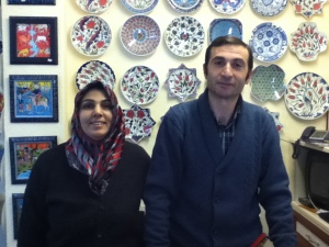 Ceramic artist and his wife in Goreme, Turkey.  We let him do the shipping on these delicate pieces...