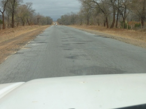 A typical lonely stretch of Zimbabwe's A4, the highway that runs from Harare (the capital) to South Africa's busiest border crossing.