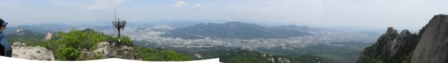 Panorama of Seoul from atop Jaunbong Peak